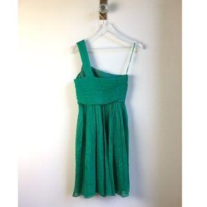 100% Silk Prom Cocktail Green One Shoulder Dress